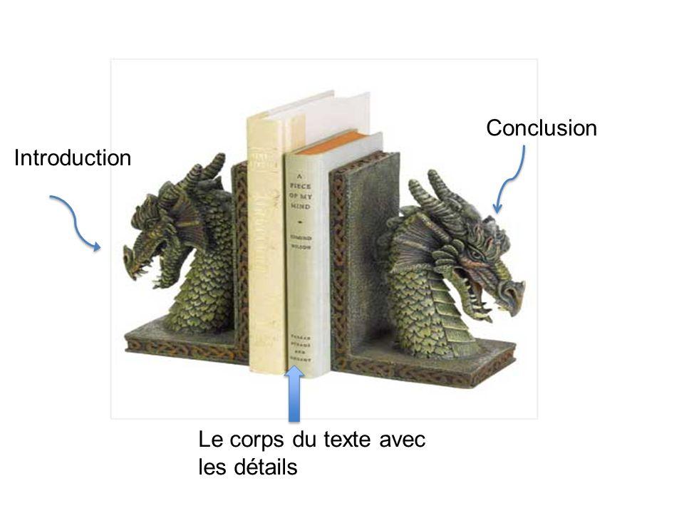 Introduction Le corps du texte avec les détails Conclusion
