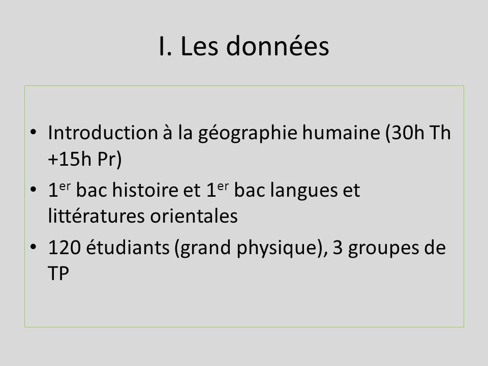 I. Les données Introduction à la géographie humaine (30h Th +15h Pr) 1 er bac histoire et 1 er bac langues et littératures orientales 120 étudiants (g