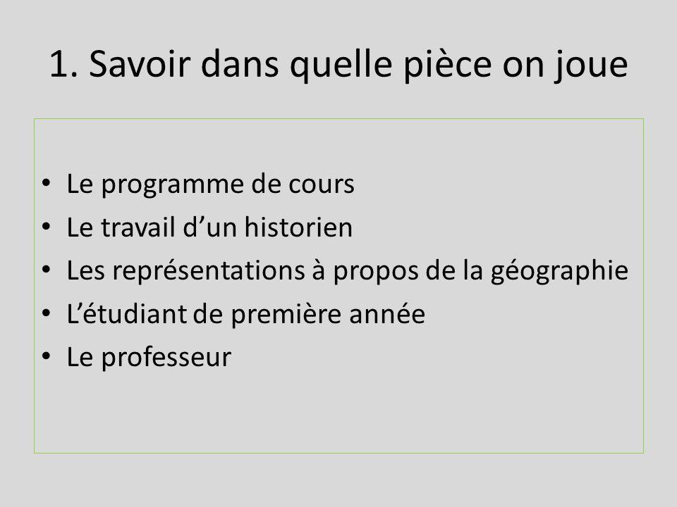1. Savoir dans quelle pièce on joue Le programme de cours Le travail dun historien Les représentations à propos de la géographie Létudiant de première