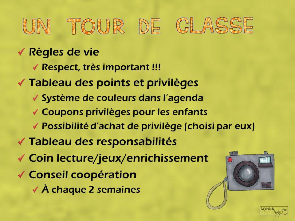 Règles de vie Respect, très important !!! Tableau des points et privilèges Système de couleurs dans lagenda Coupons privilèges pour les enfants Possib
