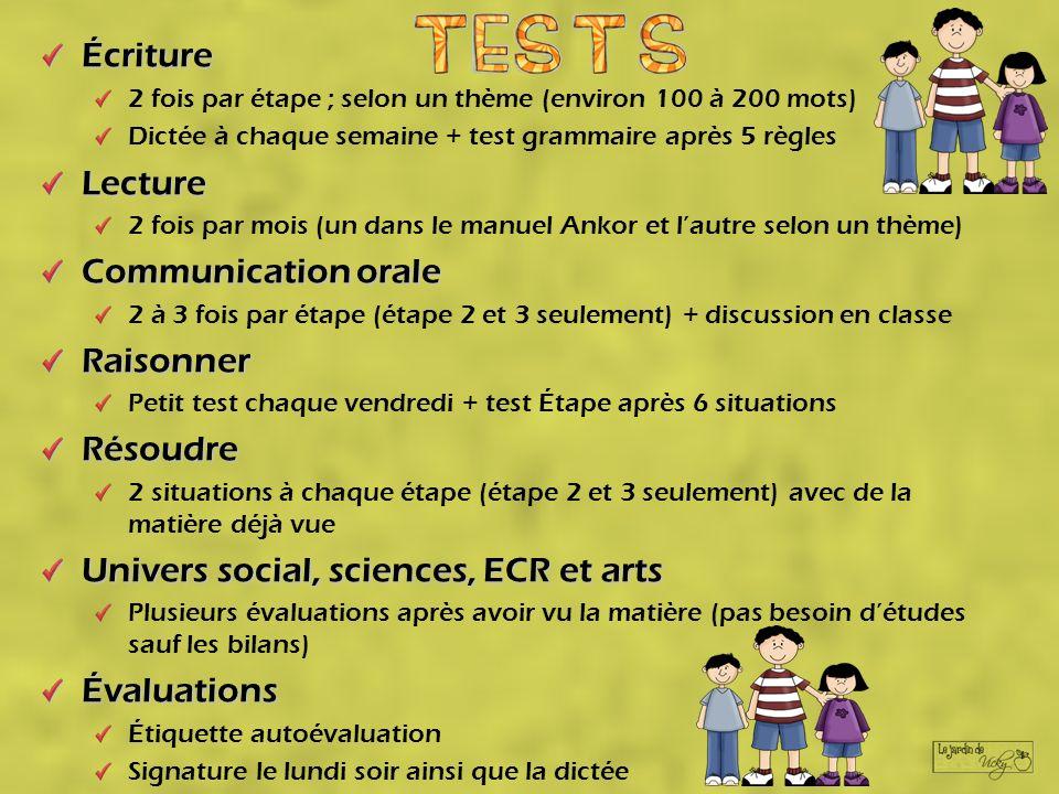 Écriture 2 fois par étape ; selon un thème (environ 100 à 200 mots) Dictée à chaque semaine + test grammaire après 5 règlesLecture 2 fois par mois (un