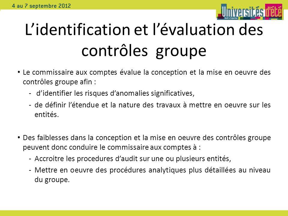 Lidentification et lévaluation des contrôles groupe Le commissaire aux comptes évalue la conception et la mise en oeuvre des contrôles groupe afin : -