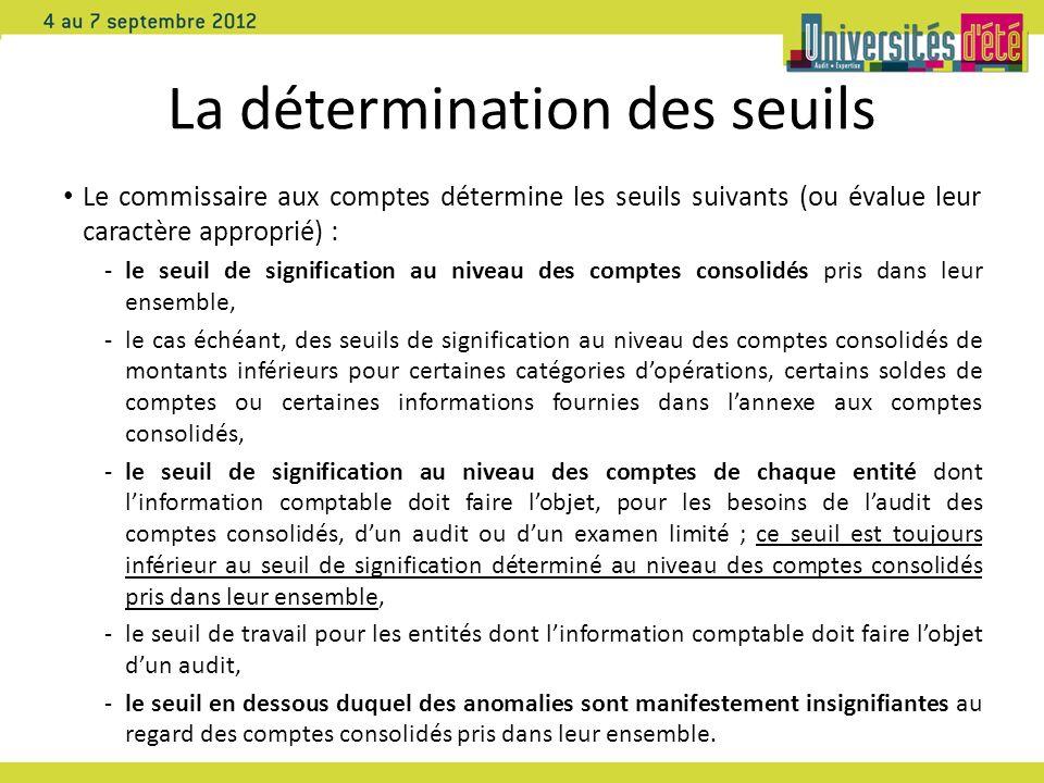 La détermination des seuils Le commissaire aux comptes détermine les seuils suivants (ou évalue leur caractère approprié) : -le seuil de signification