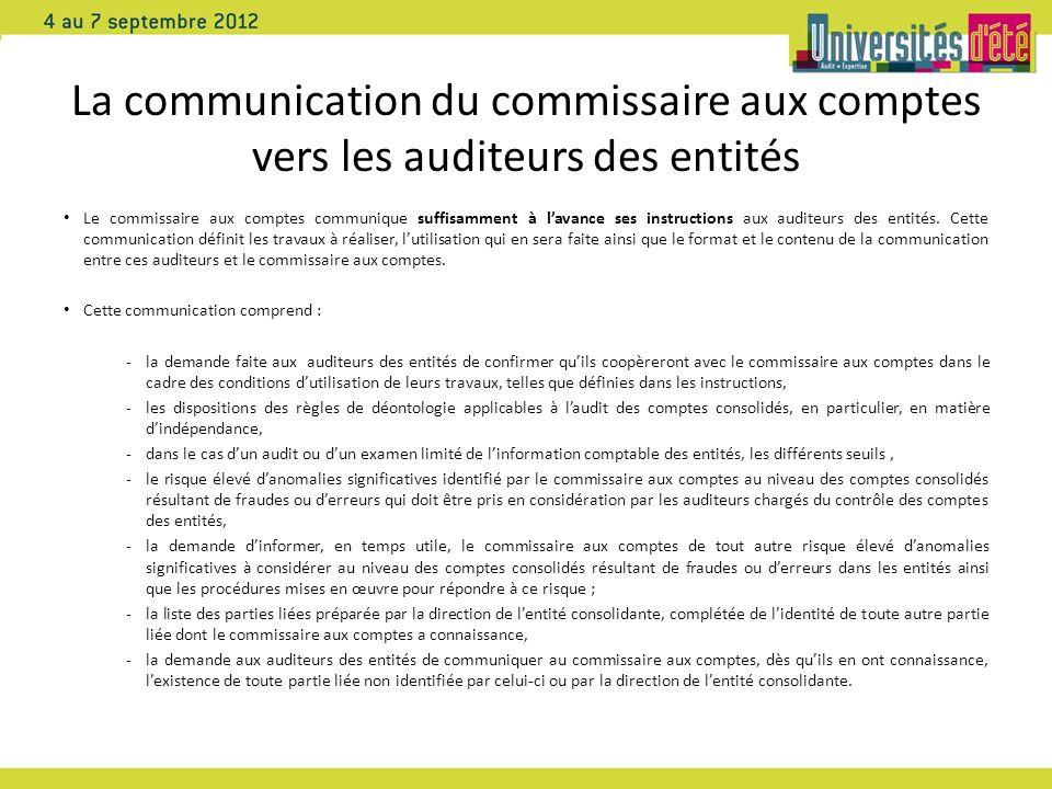 La communication du commissaire aux comptes vers les auditeurs des entités Le commissaire aux comptes communique suffisamment à lavance ses instructions aux auditeurs des entités.
