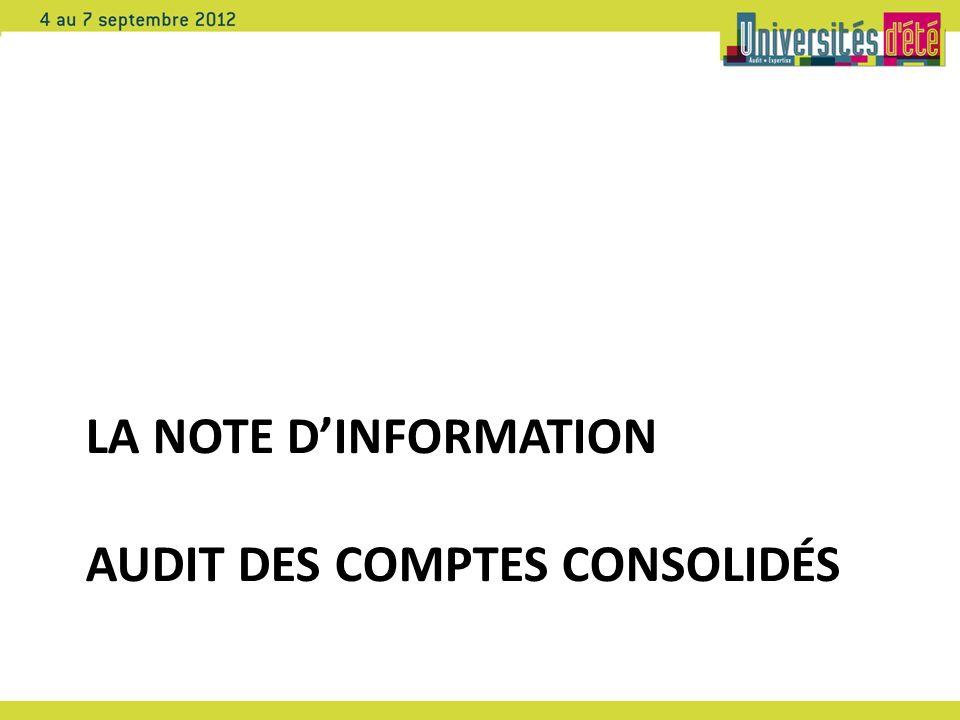LA NOTE DINFORMATION AUDIT DES COMPTES CONSOLIDÉS