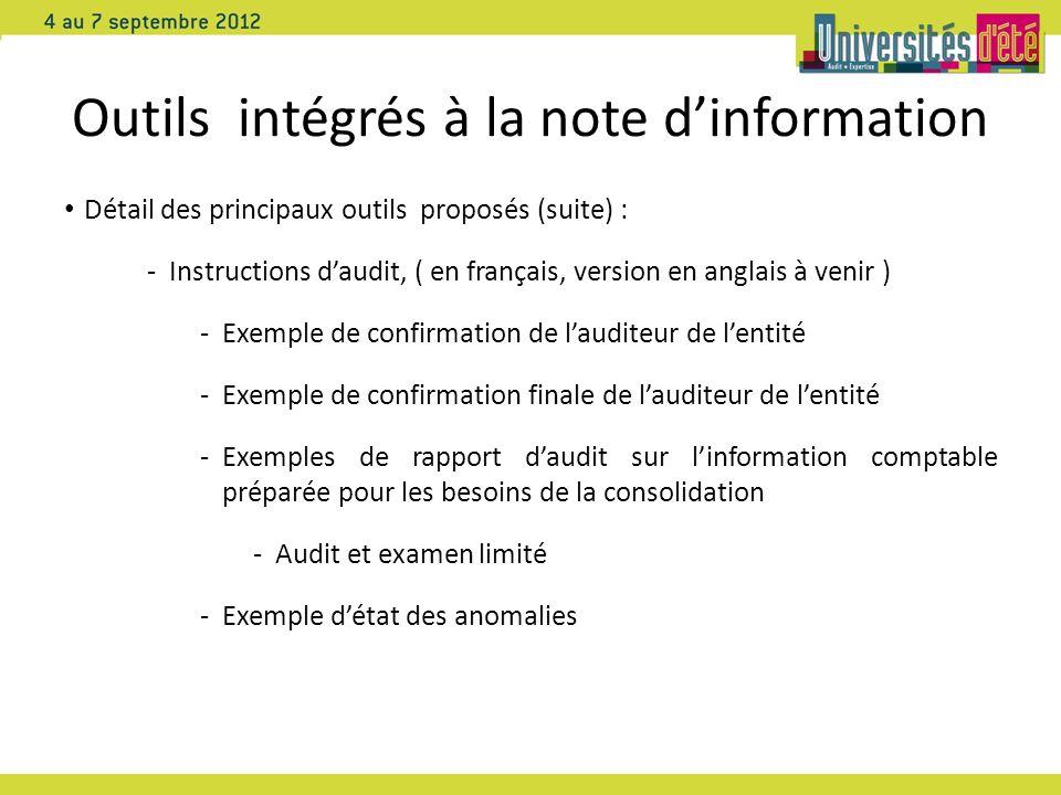 Outils intégrés à la note dinformation Détail des principaux outils proposés (suite) : -Instructions daudit, ( en français, version en anglais à venir