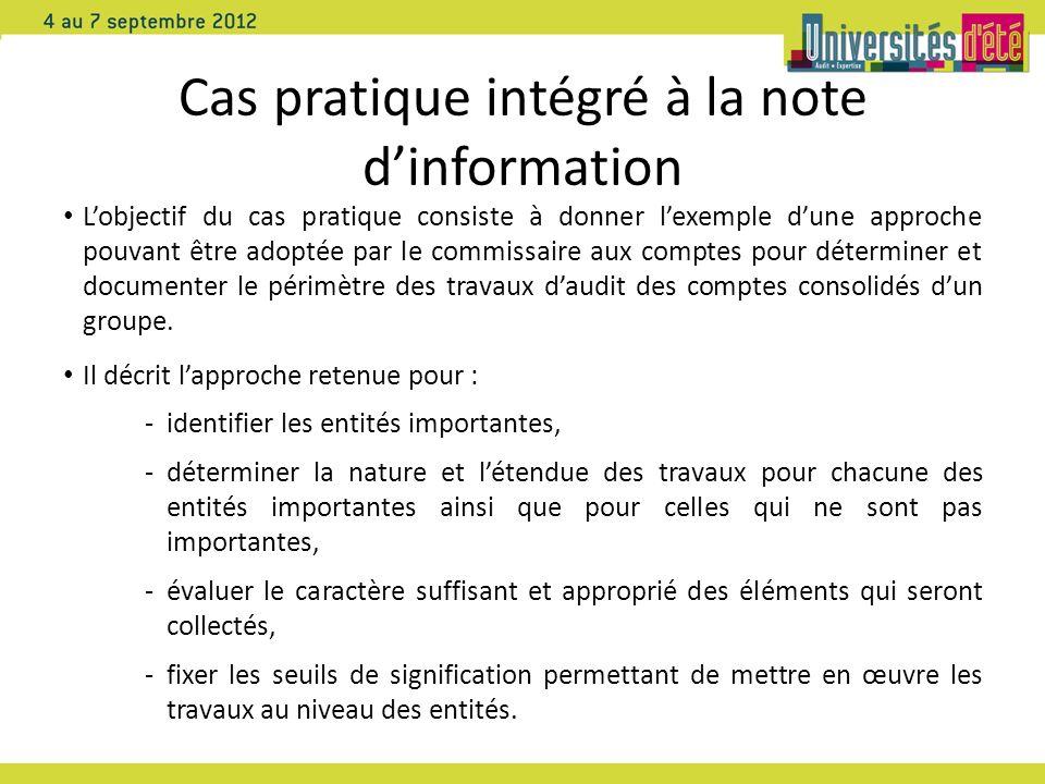 Cas pratique intégré à la note dinformation Lobjectif du cas pratique consiste à donner lexemple dune approche pouvant être adoptée par le commissaire