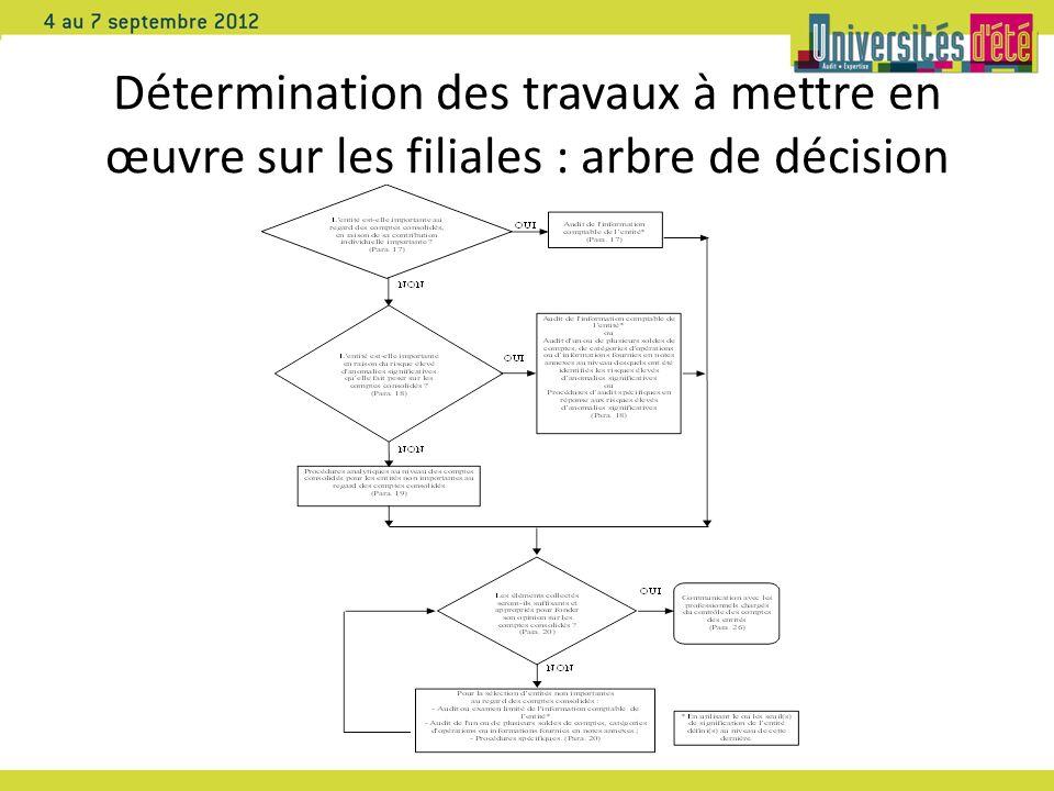 Détermination des travaux à mettre en œuvre sur les filiales : arbre de décision