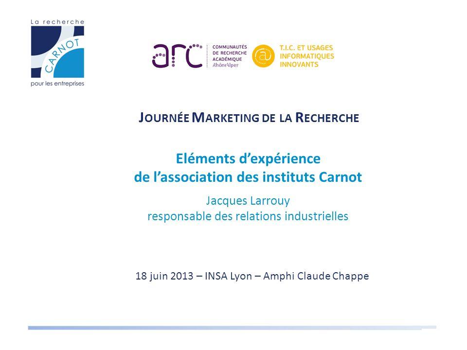 18 juin 2013 – INSA Lyon – Amphi Claude Chappe J OURNÉE M ARKETING DE LA R ECHERCHE Eléments dexpérience de lassociation des instituts Carnot Jacques