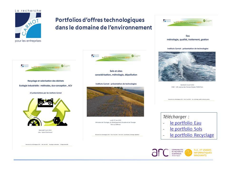 Portfolios doffres technologiques dans le domaine de lenvironnement Télécharger : -le portfolio Eaule portfolio Eau -le portfolio Solsle portfolio Sols -le portfolio Recyclagele portfolio Recyclage