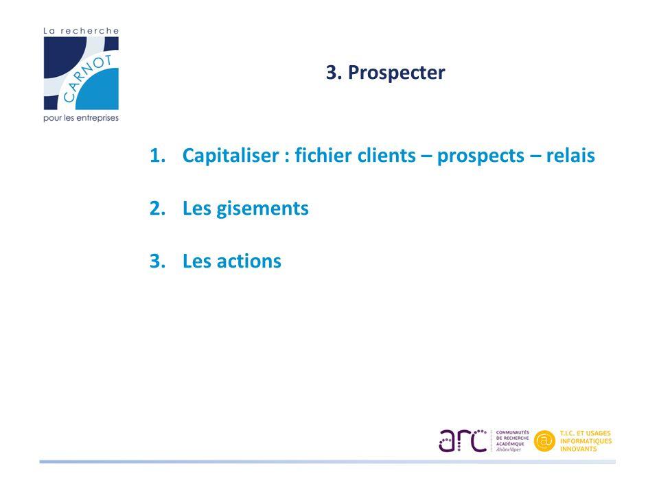 3. Prospecter 1.Capitaliser : fichier clients – prospects – relais 2.Les gisements 3.Les actions