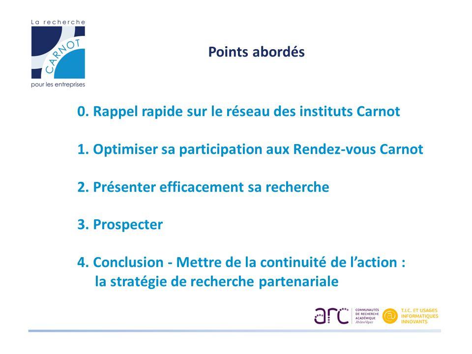 Points abordés 0. Rappel rapide sur le réseau des instituts Carnot 1. Optimiser sa participation aux Rendez-vous Carnot 2. Présenter efficacement sa r