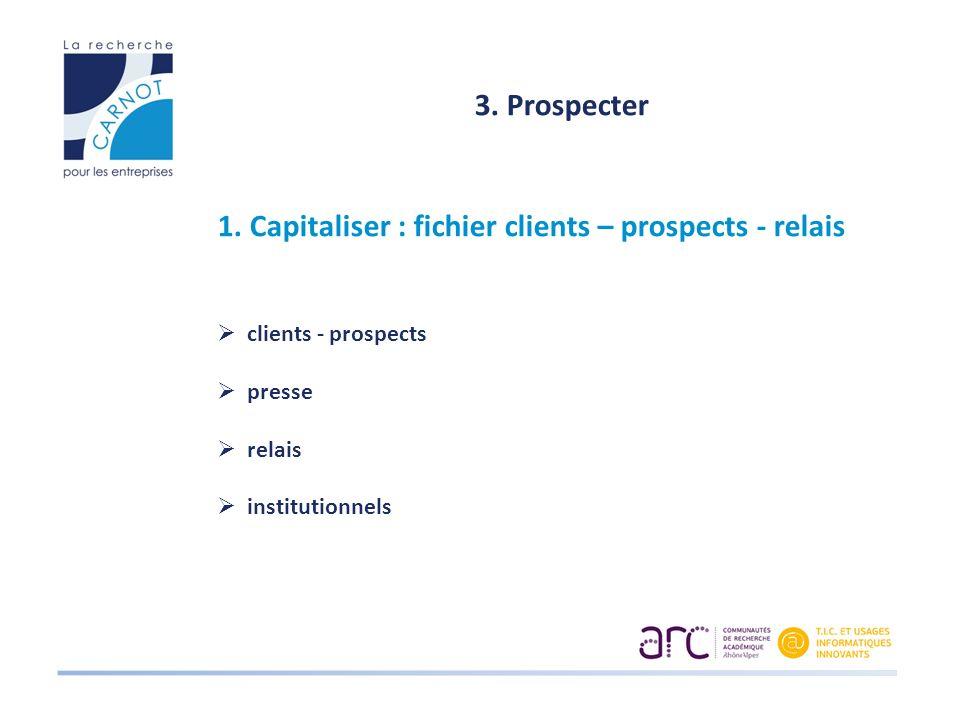 3. Prospecter 1. Capitaliser : fichier clients – prospects - relais clients - prospects presse relais institutionnels