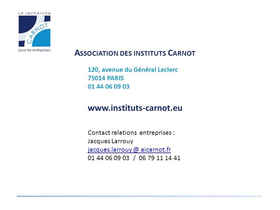 A SSOCIATION DES INSTITUTS C ARNOT 120, avenue du Général Leclerc 75014 PARIS 01 44 06 09 03 www.instituts-carnot.eu Contact relations entreprises : Jacques Larrouy jacques.larrouy @ aicarnot.fr 01 44 06 09 03 / 06 79 11 14 41