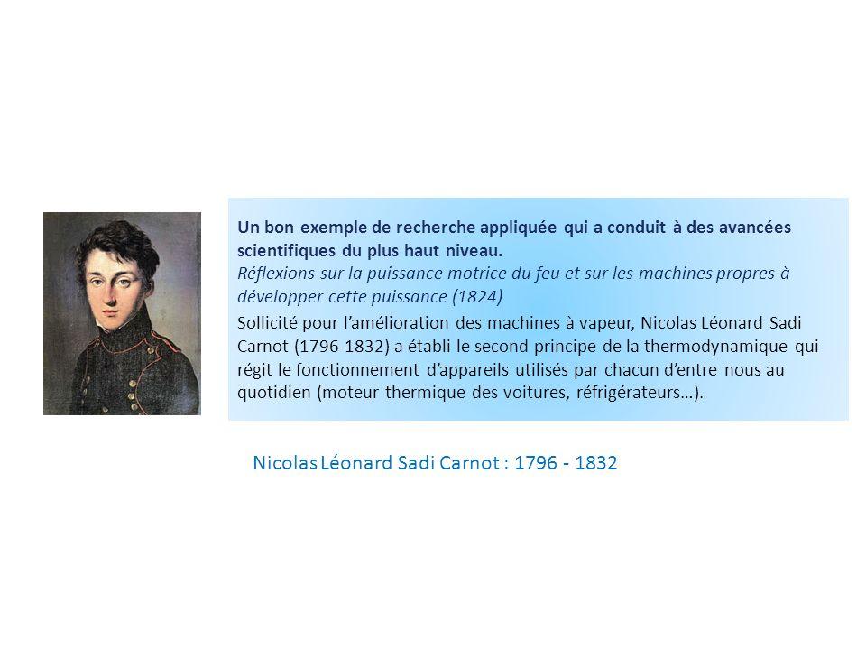 Nicolas Léonard Sadi Carnot : 1796 - 1832 Un bon exemple de recherche appliquée qui a conduit à des avancées scientifiques du plus haut niveau.