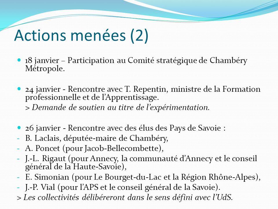 Actions menées (3) 29 janvier matin - Réunion entre chefs détablissements des membres fondateurs du PRES : rejet, surprenant au regard des propos antérieurs, de la fusion et de la communauté par les collègues grenoblois.