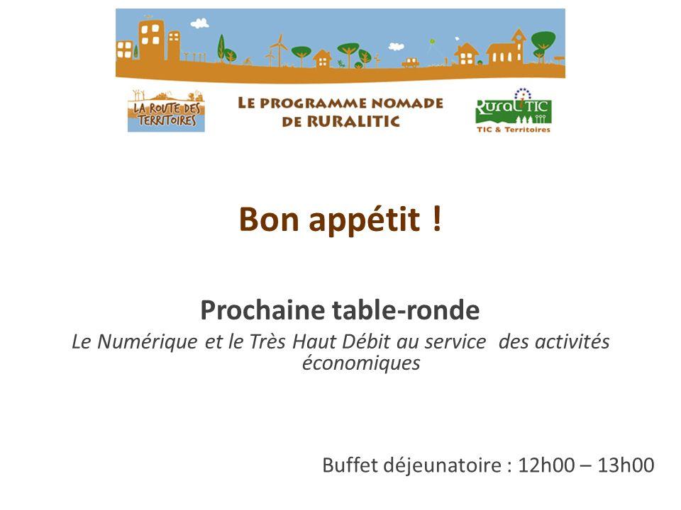 Buffet déjeunatoire : 12h00 – 13h00 Bon appétit ! Prochaine table-ronde Le Numérique et le Très Haut Débit au service des activités économiques