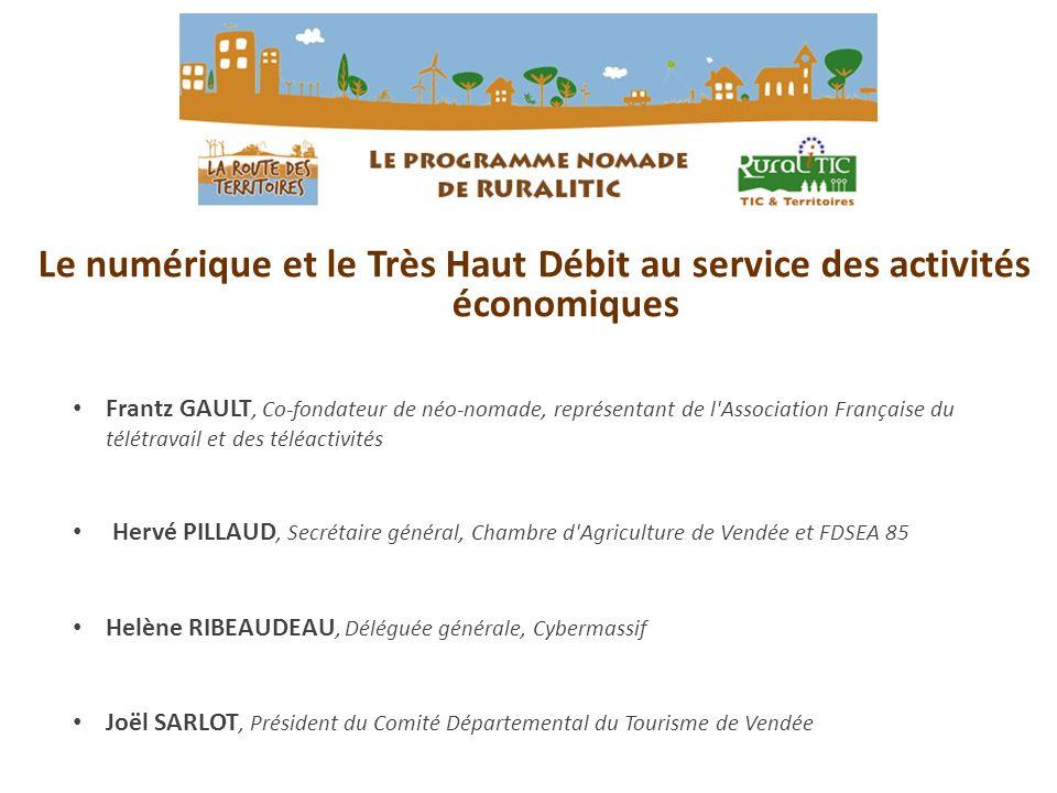 Le numérique et le Très Haut Débit au service des activités économiques Frantz GAULT, Co-fondateur de néo-nomade, représentant de l'Association França