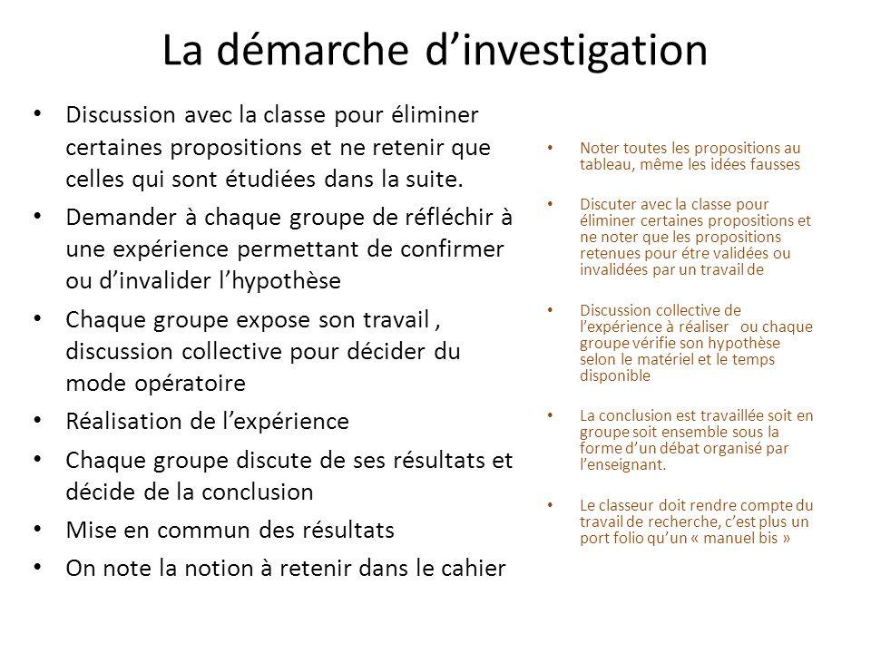 La démarche dinvestigation Discussion avec la classe pour éliminer certaines propositions et ne retenir que celles qui sont étudiées dans la suite. De