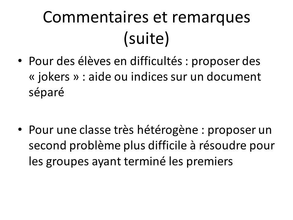 Commentaires et remarques (suite) Pour des élèves en difficultés : proposer des « jokers » : aide ou indices sur un document séparé Pour une classe tr