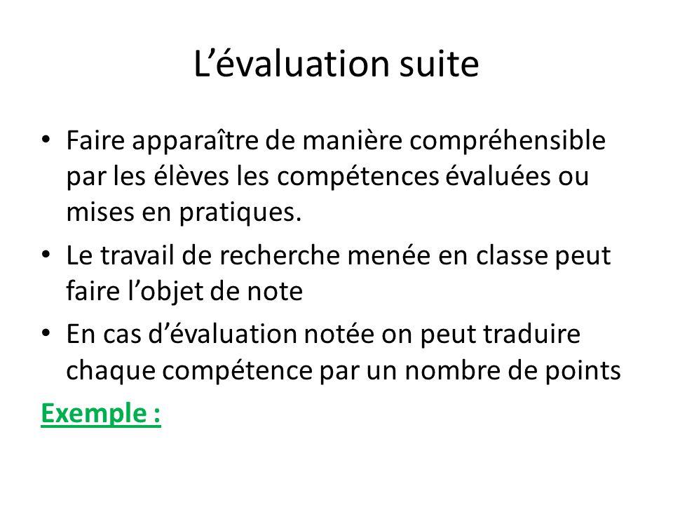 Lévaluation suite Faire apparaître de manière compréhensible par les élèves les compétences évaluées ou mises en pratiques. Le travail de recherche me