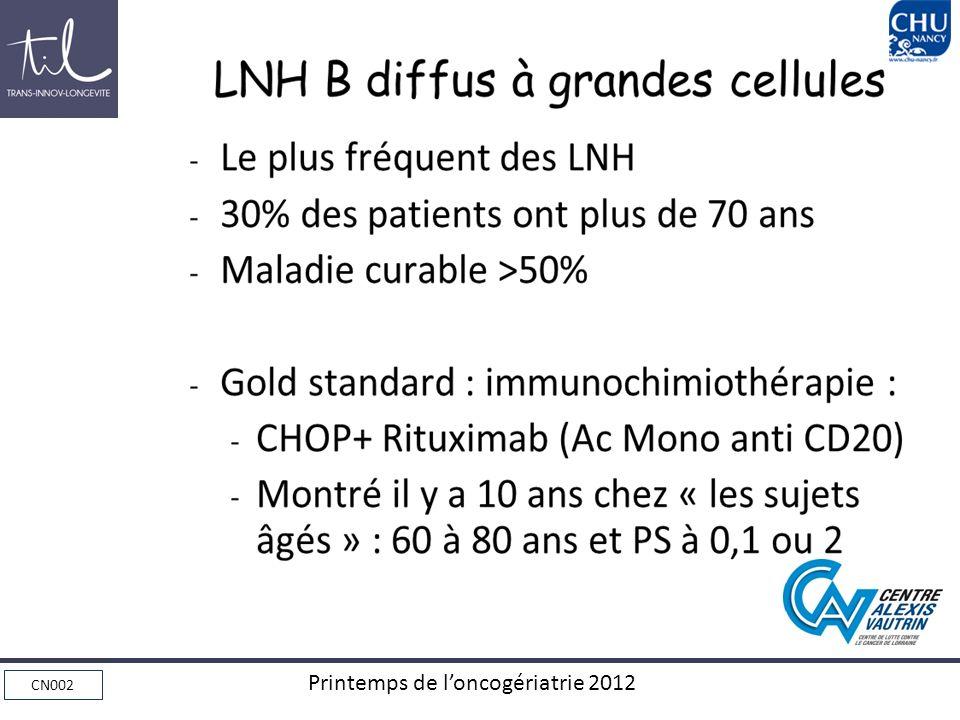 CN002 Printemps de loncogériatrie 2012 Conclusions, Questions Lavenir est-il à un traitement de première ligne sans alkylant ?.