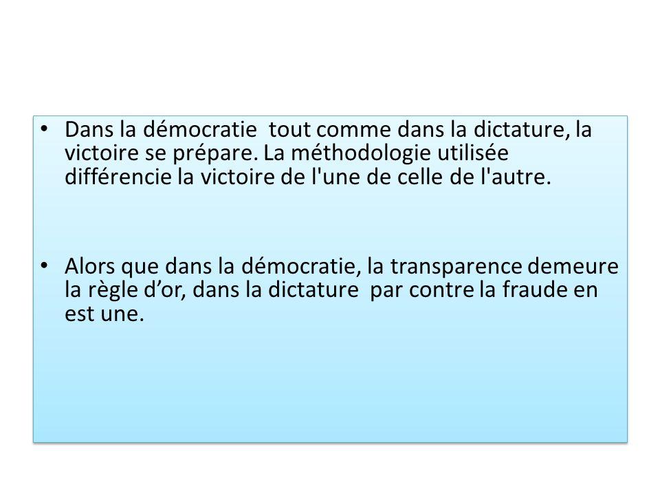 Dans la démocratie tout comme dans la dictature, la victoire se prépare. La méthodologie utilisée différencie la victoire de l'une de celle de l'autre