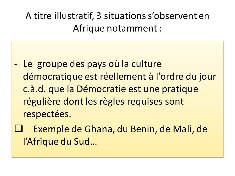 A titre illustratif, 3 situations sobservent en Afrique notamment : -Le groupe des pays où la culture démocratique est réellement à lordre du jour c.à