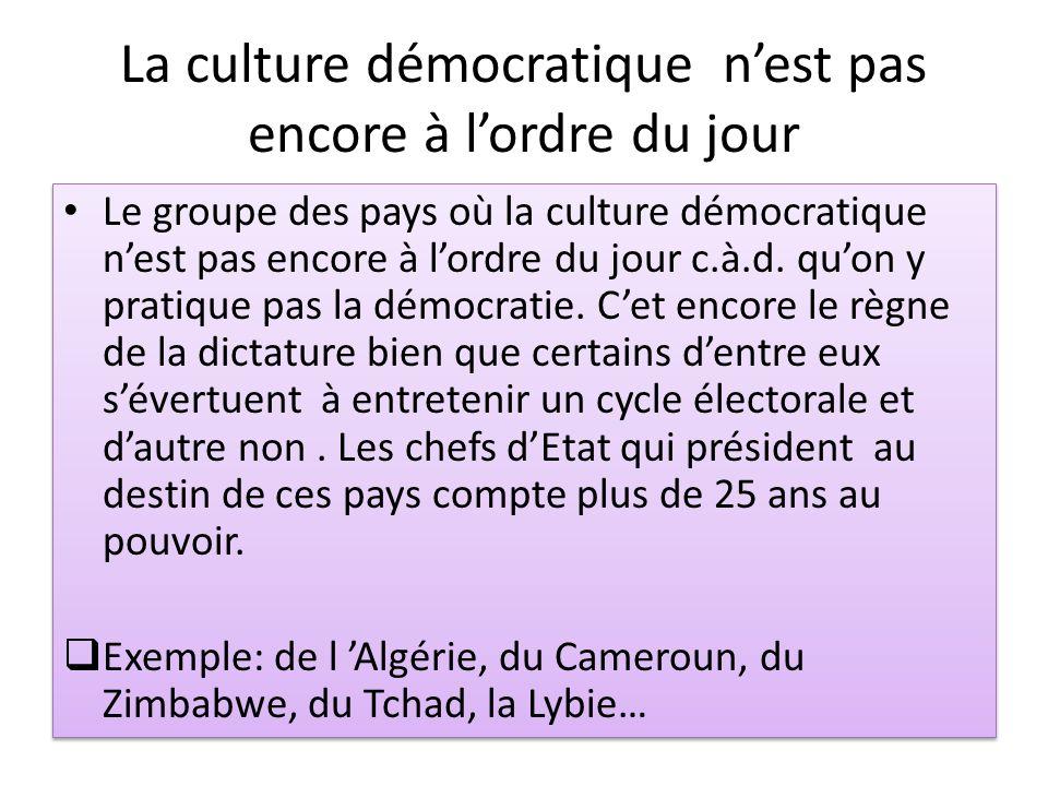 La culture démocratique nest pas encore à lordre du jour Le groupe des pays où la culture démocratique nest pas encore à lordre du jour c.à.d. quon y