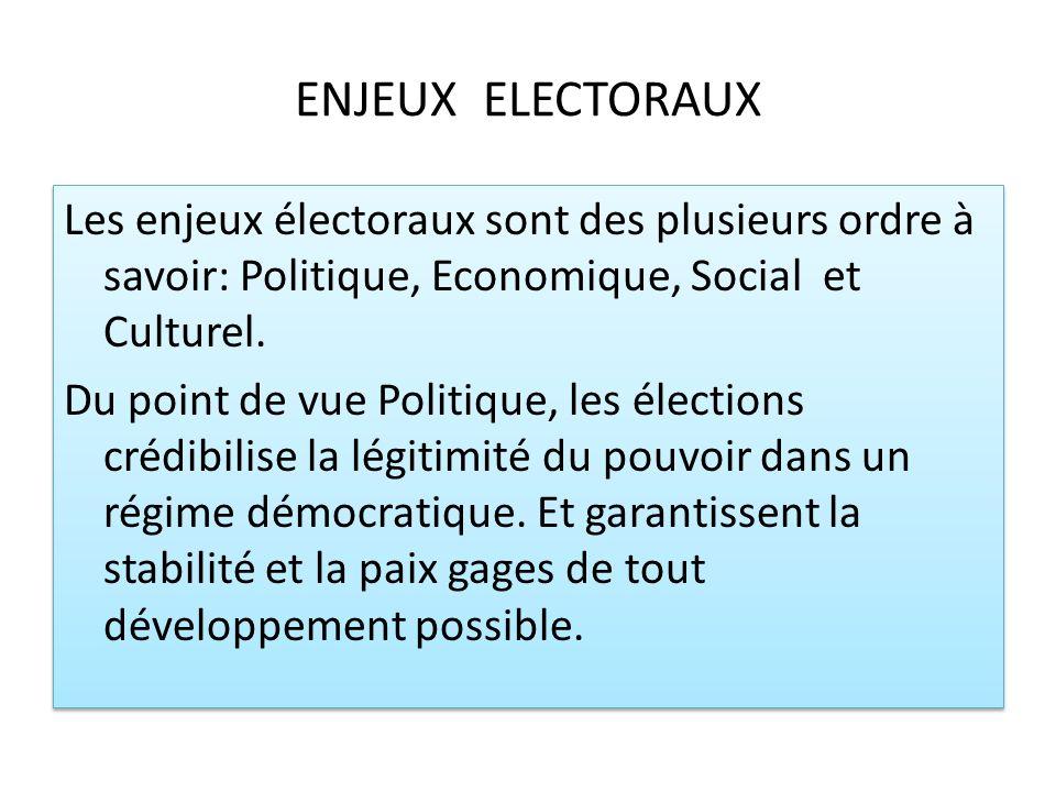 ENJEUX ELECTORAUX Les enjeux électoraux sont des plusieurs ordre à savoir: Politique, Economique, Social et Culturel. Du point de vue Politique, les é