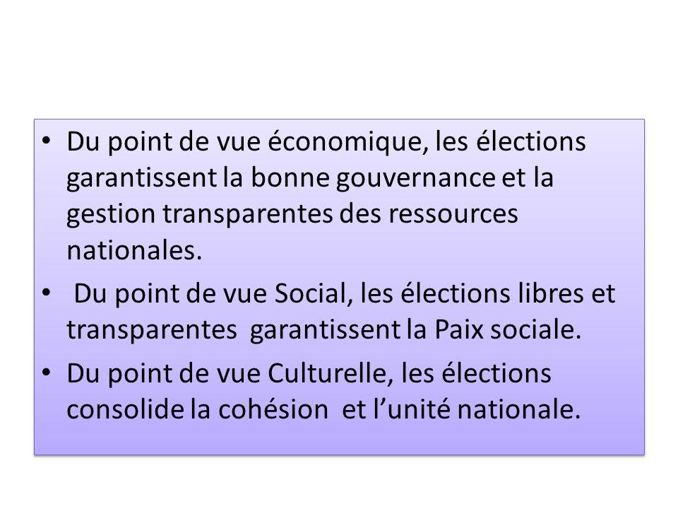 Du point de vue économique, les élections garantissent la bonne gouvernance et la gestion transparentes des ressources nationales. Du point de vue Soc