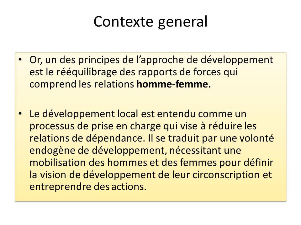 Contexte general Or, un des principes de lapproche de développement est le rééquilibrage des rapports de forces qui comprend les relations homme-femme