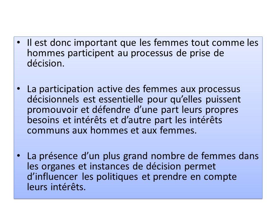 Il est donc important que les femmes tout comme les hommes participent au processus de prise de décision. La participation active des femmes aux proce