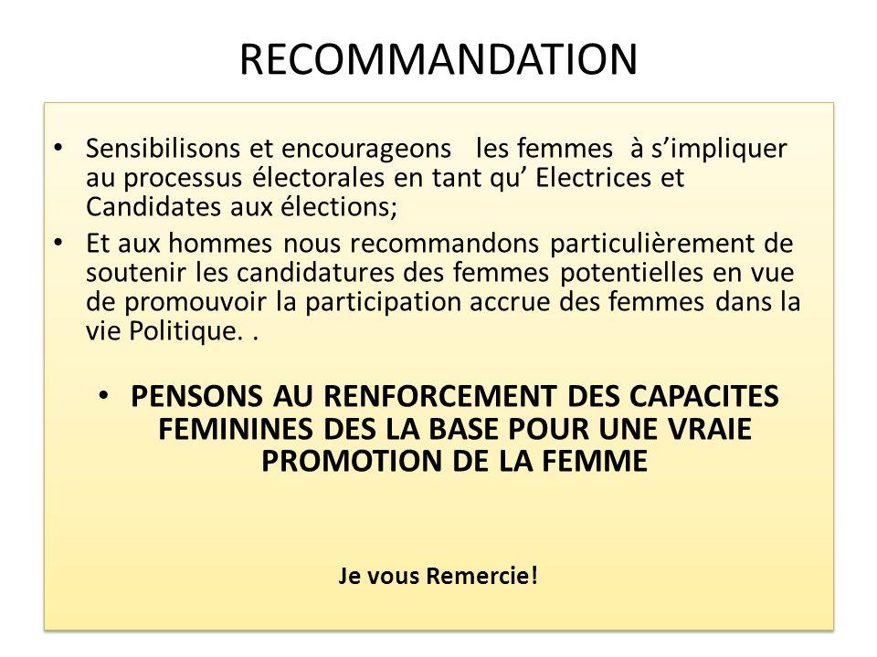 RECOMMANDATION Sensibilisons et encourageons les femmes à simpliquer au processus électorales en tant qu Electrices et Candidates aux élections; Et au