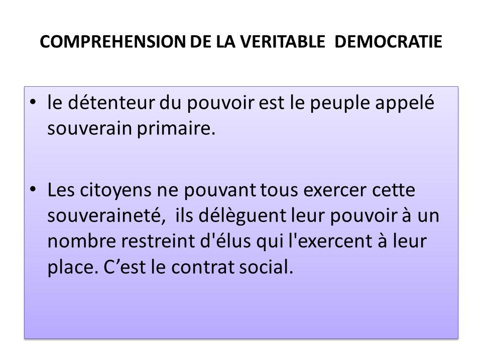 COMPREHENSION DE LA VERITABLE DEMOCRATIE le détenteur du pouvoir est le peuple appelé souverain primaire. Les citoyens ne pouvant tous exercer cette s