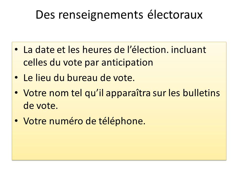 Des renseignements électoraux La date et les heures de lélection. incluant celles du vote par anticipation Le lieu du bureau de vote. Votre nom tel qu