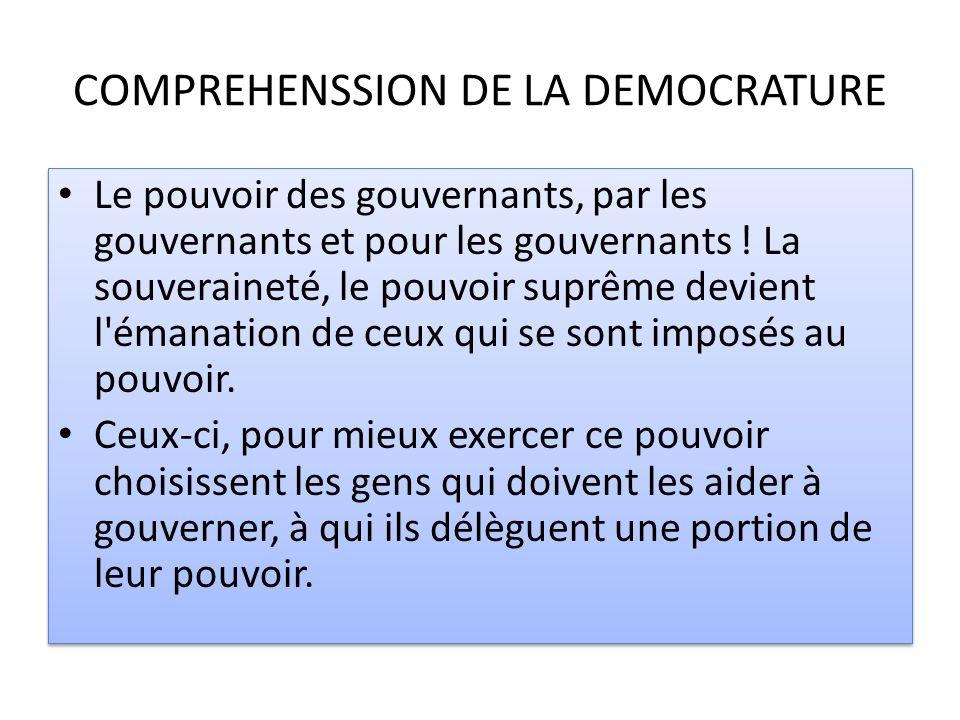 COMPREHENSSION DE LA DEMOCRATURE Le pouvoir des gouvernants, par les gouvernants et pour les gouvernants ! La souveraineté, le pouvoir suprême devient