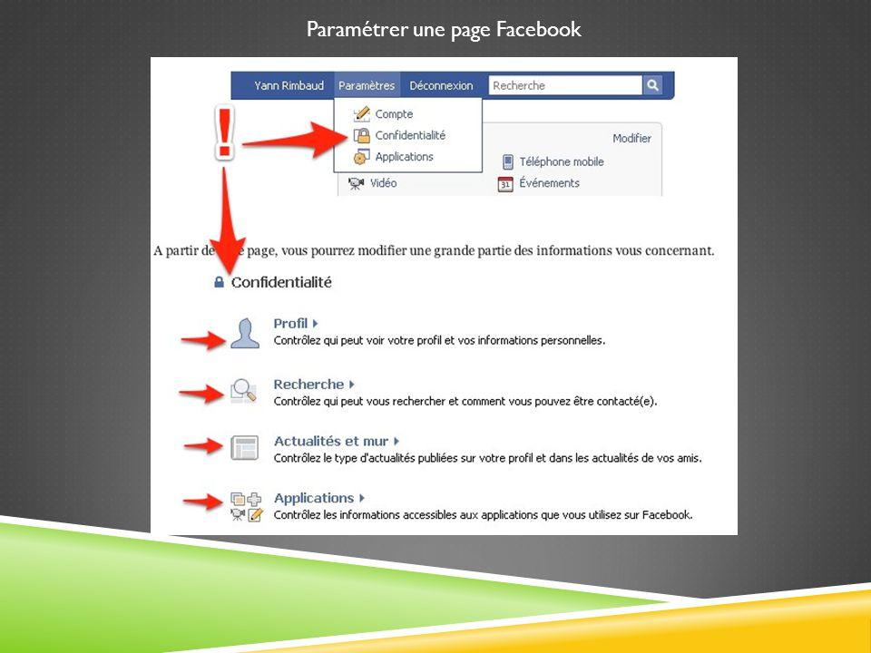 Paramétrer une page Facebook