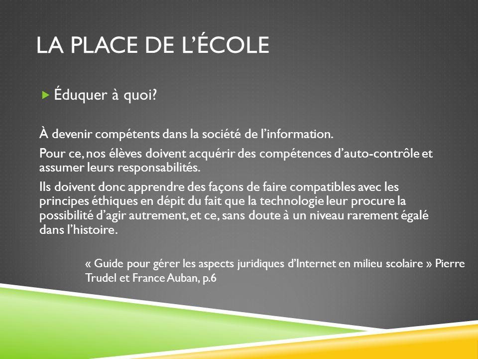 LA PLACE DE LÉCOLE Éduquer à quoi. À devenir compétents dans la société de linformation.
