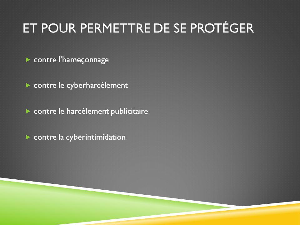 ET POUR PERMETTRE DE SE PROTÉGER contre lhameçonnage contre le cyberharcèlement contre le harcèlement publicitaire contre la cyberintimidation