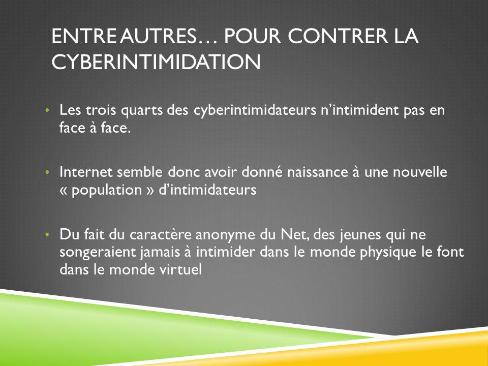 ENTRE AUTRES… POUR CONTRER LA CYBERINTIMIDATION Les trois quarts des cyberintimidateurs nintimident pas en face à face.