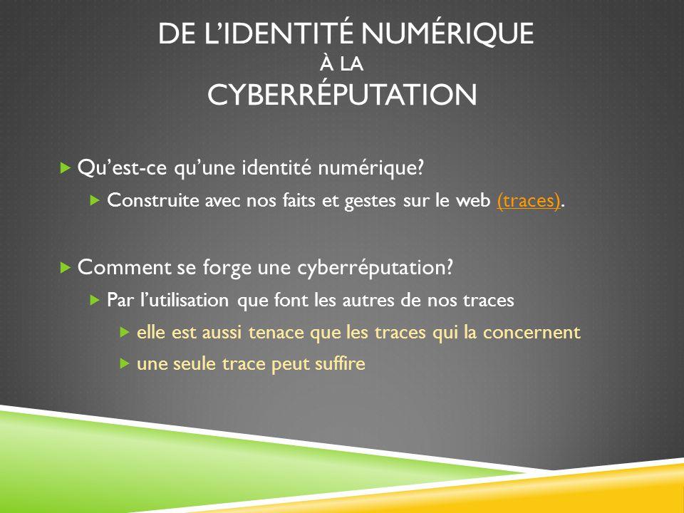 DE LIDENTITÉ NUMÉRIQUE À LA CYBERRÉPUTATION Quest-ce quune identité numérique.