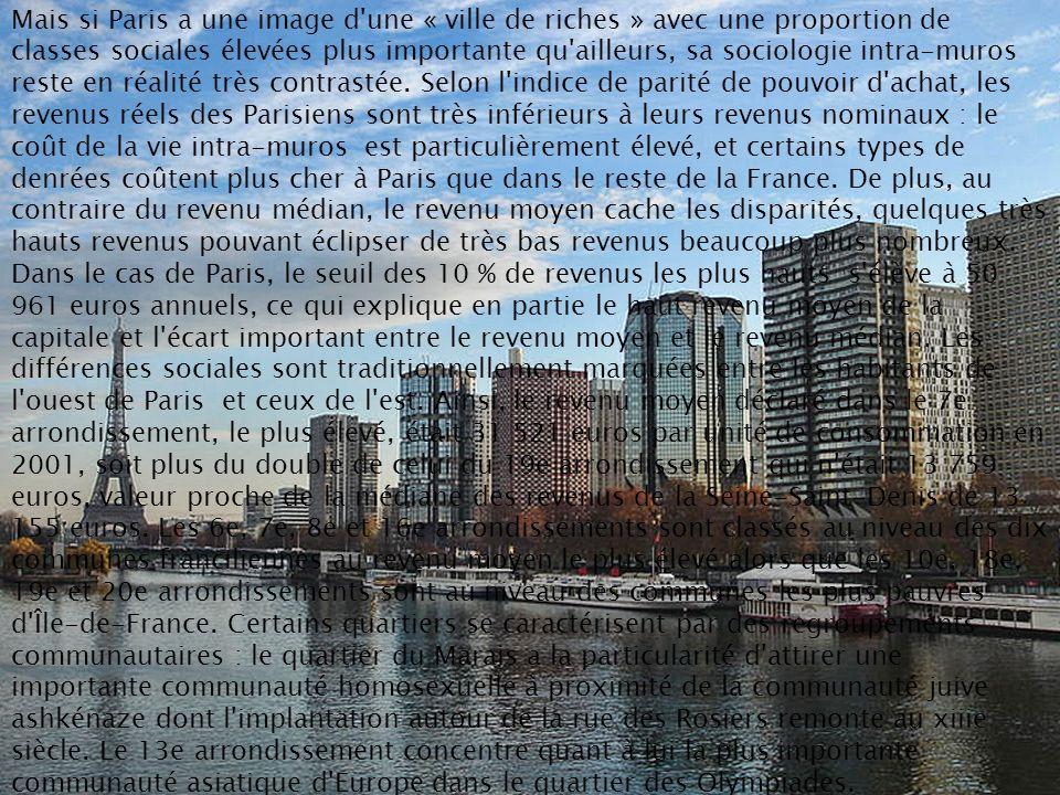 Mais si Paris a une image d'une « ville de riches » avec une proportion de classes sociales élevées plus importante qu'ailleurs, sa sociologie intra-m