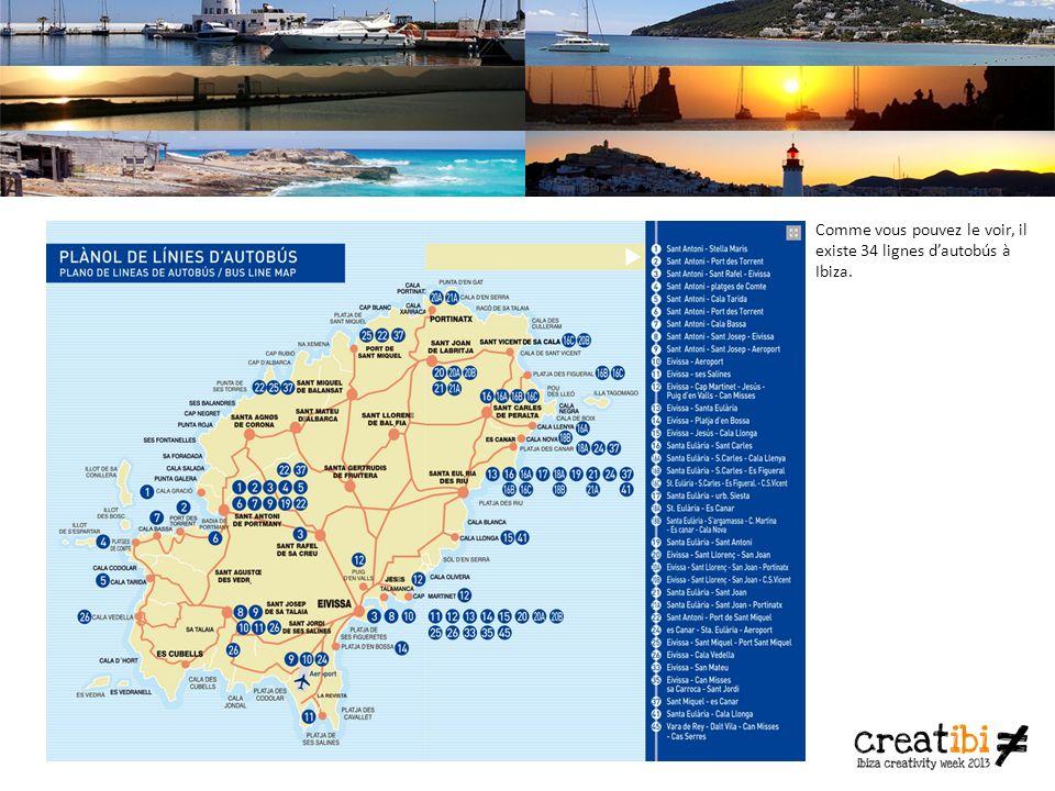 Comme vous pouvez le voir, il existe 34 lignes dautobús à Ibiza.