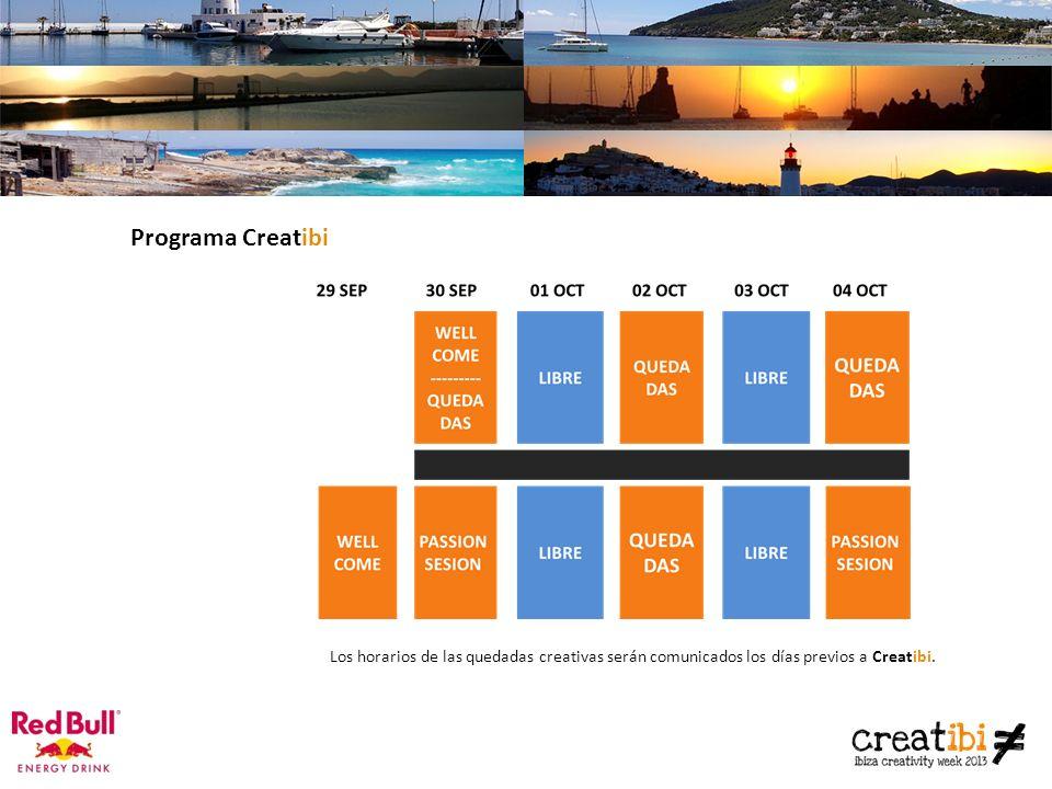 Los horarios de las quedadas creativas serán comunicados los días previos a Creatibi.