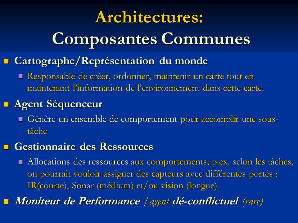 Architectures: Composantes Communes Cartographe/Représentation du monde Cartographe/Représentation du monde Responsable de créer, ordonner, maintenir