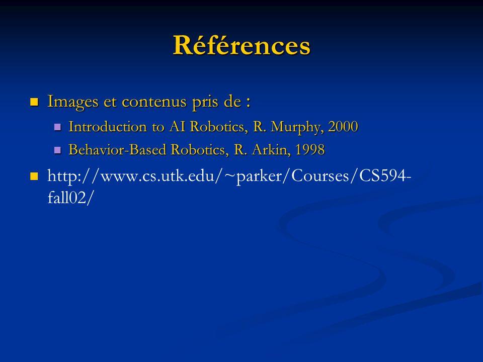Références Images et contenus pris de : Images et contenus pris de : Introduction to AI Robotics, R. Murphy, 2000 Introduction to AI Robotics, R. Murp