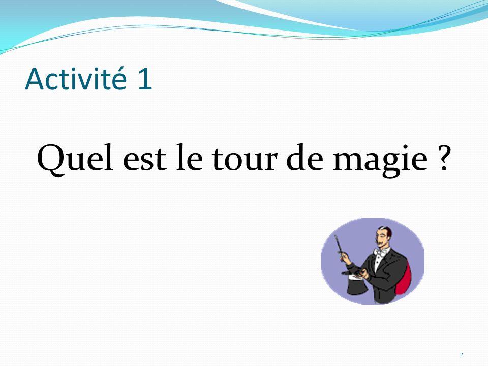 Activité 1 Quel est le tour de magie ? 2