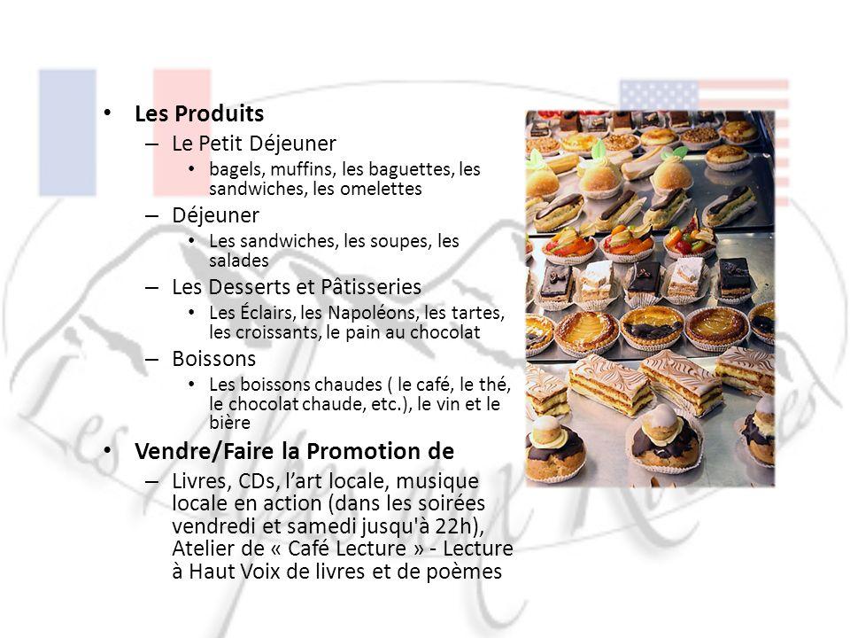 Les Produits – Le Petit Déjeuner bagels, muffins, les baguettes, les sandwiches, les omelettes – Déjeuner Les sandwiches, les soupes, les salades – Le