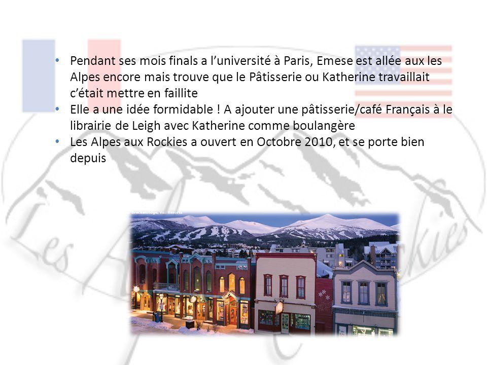 Pendant ses mois finals a luniversité à Paris, Emese est allée aux les Alpes encore mais trouve que le Pâtisserie ou Katherine travaillait cétait mettre en faillite Elle a une idée formidable .